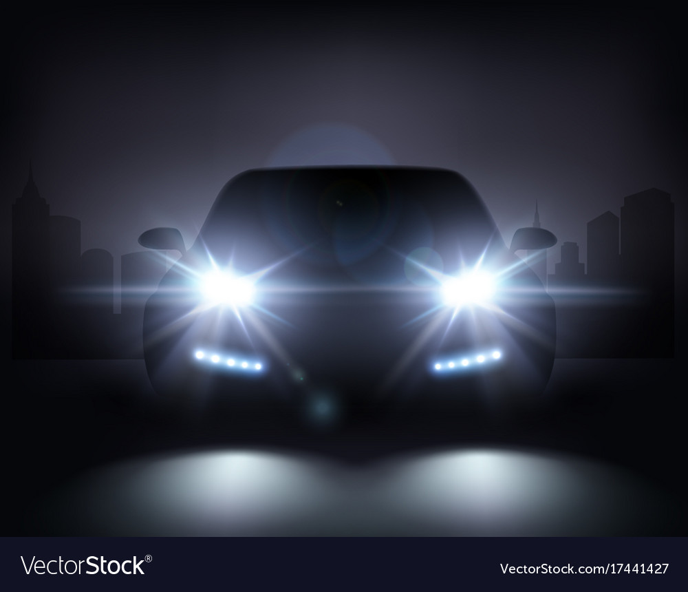 Modern car lights composition