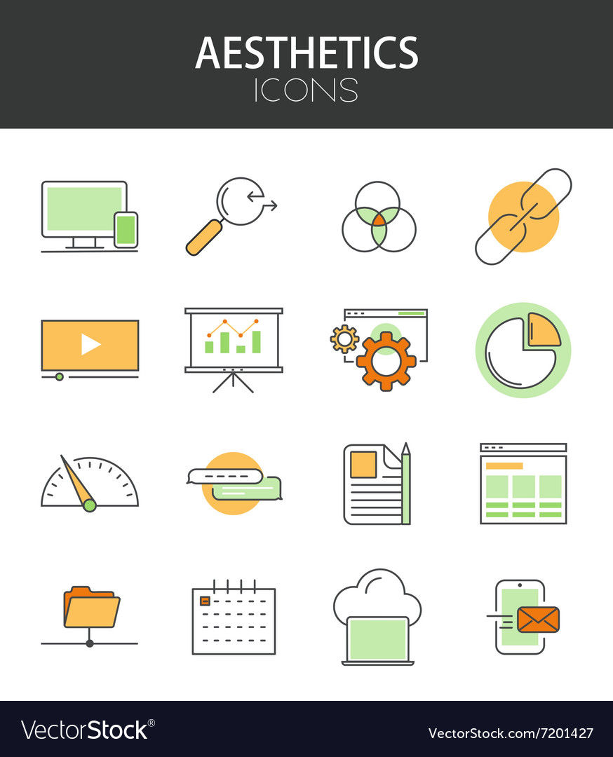 Modern thin line flat design icons set