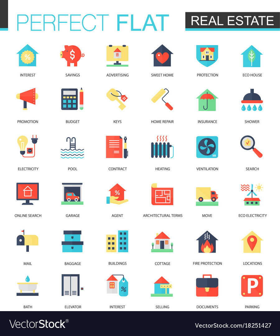 Set of flat real estate icons