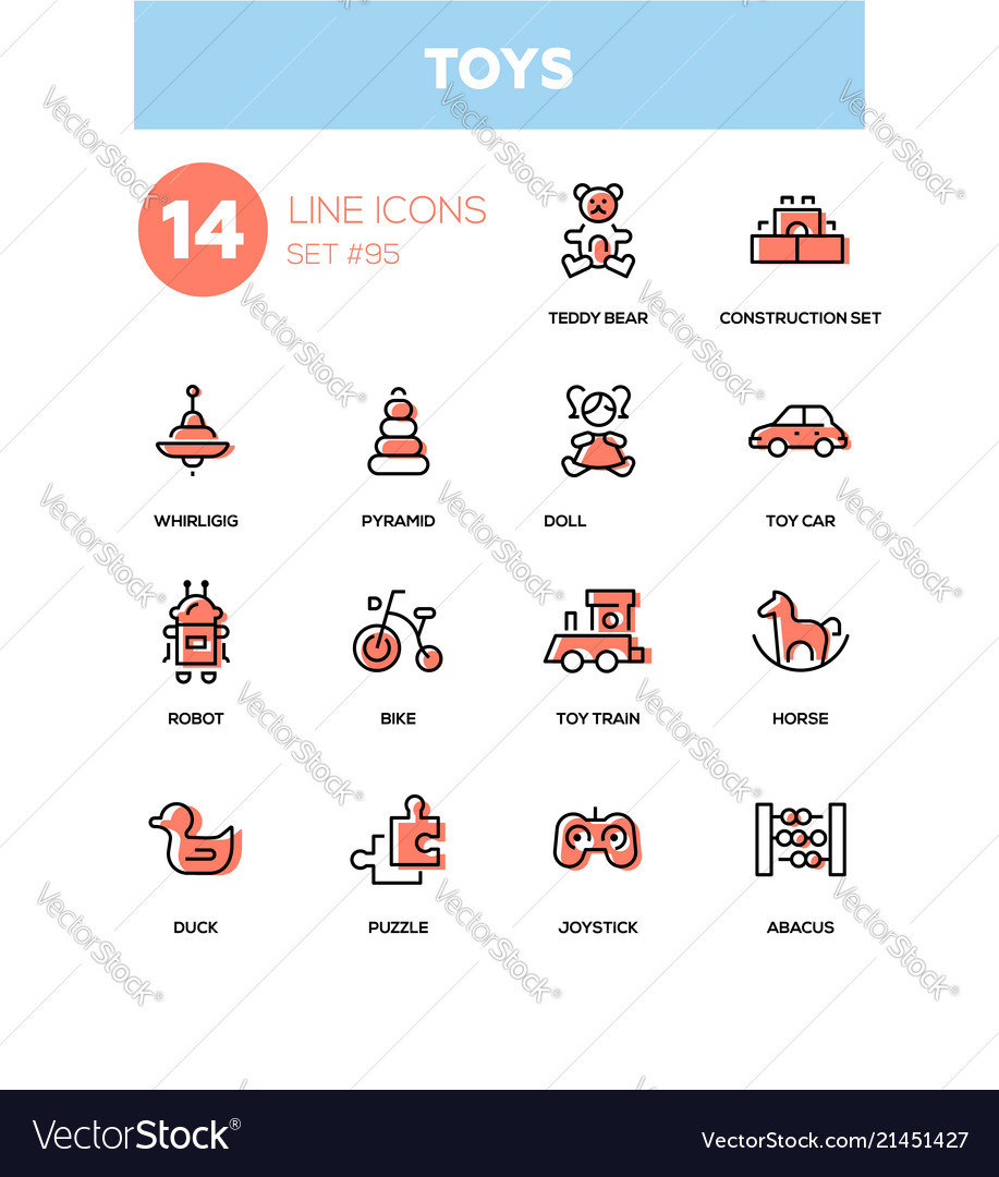 Toys - modern line design icons set