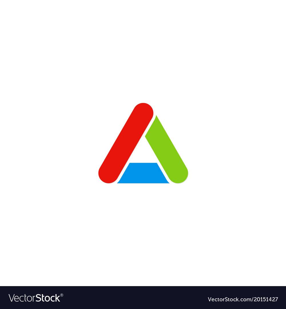 Triangle colored letter a logo
