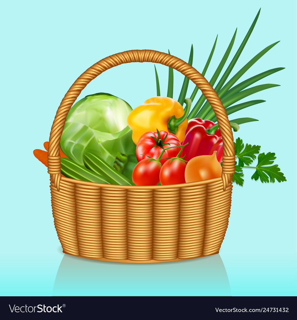 A basket with vegetables tomatoes cucumbers