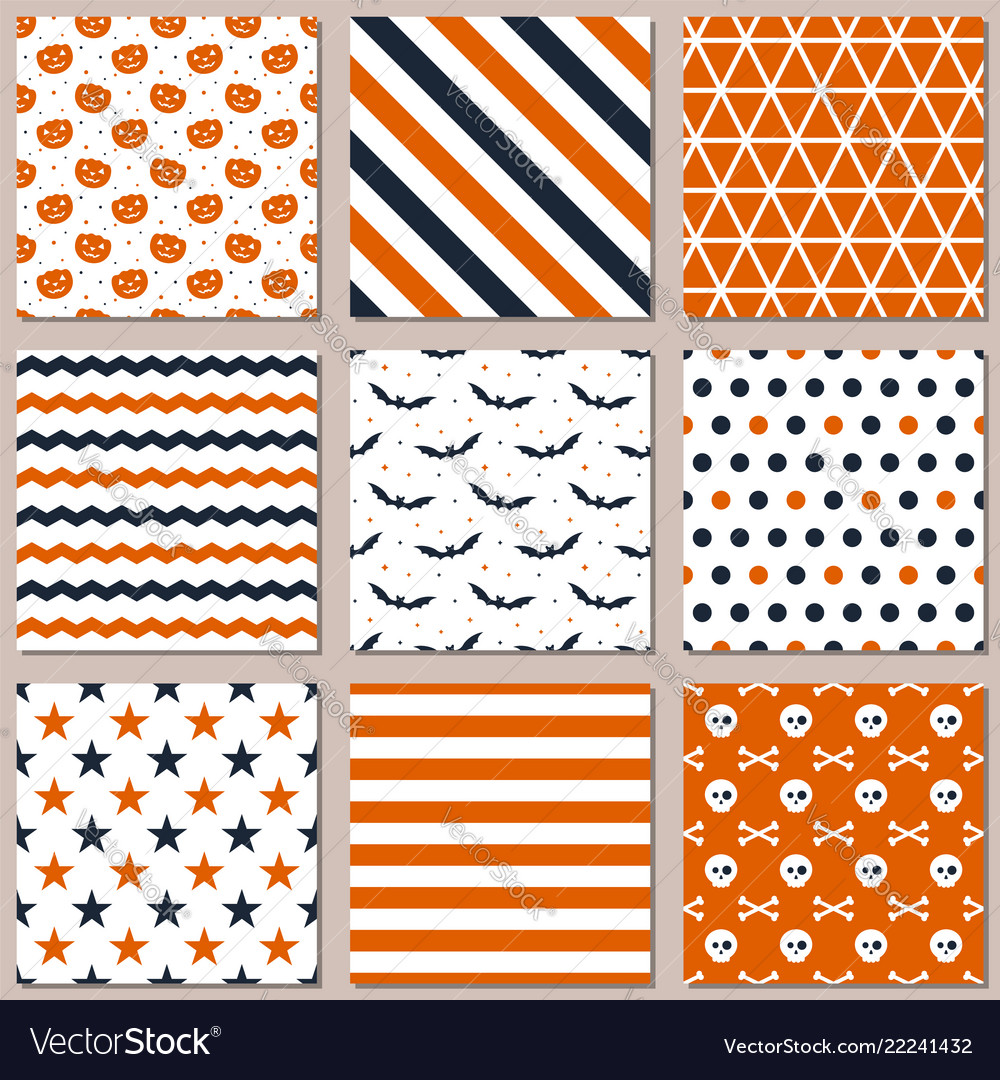 Nine different seamless patterns for halloween