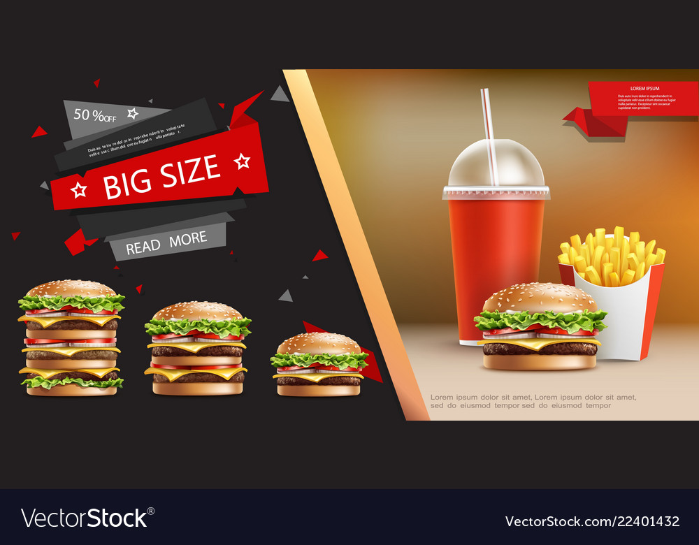 Realistic fast food advertizing template