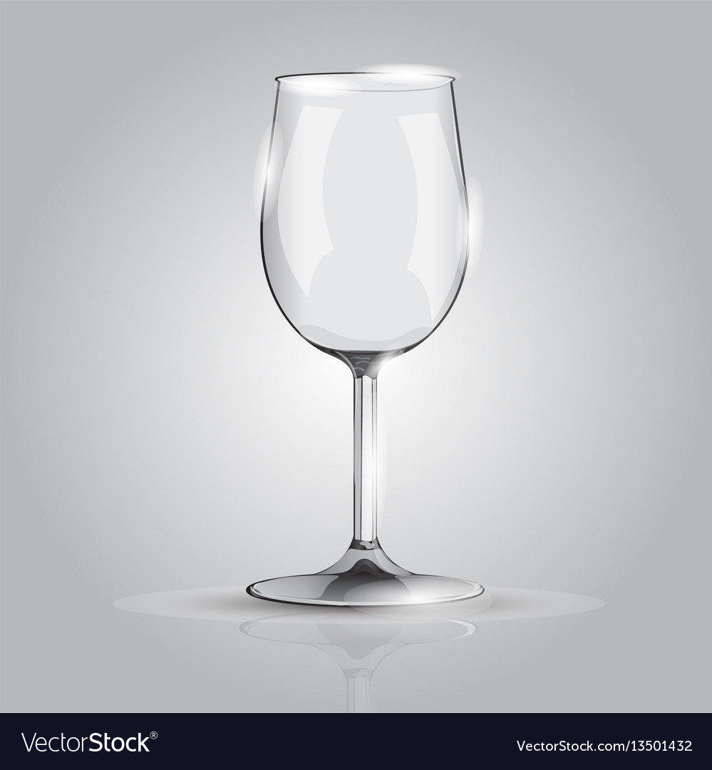 Realistic wineglass on grey background