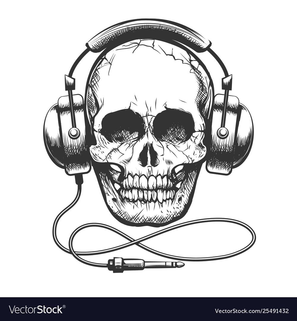 Skull with headphones