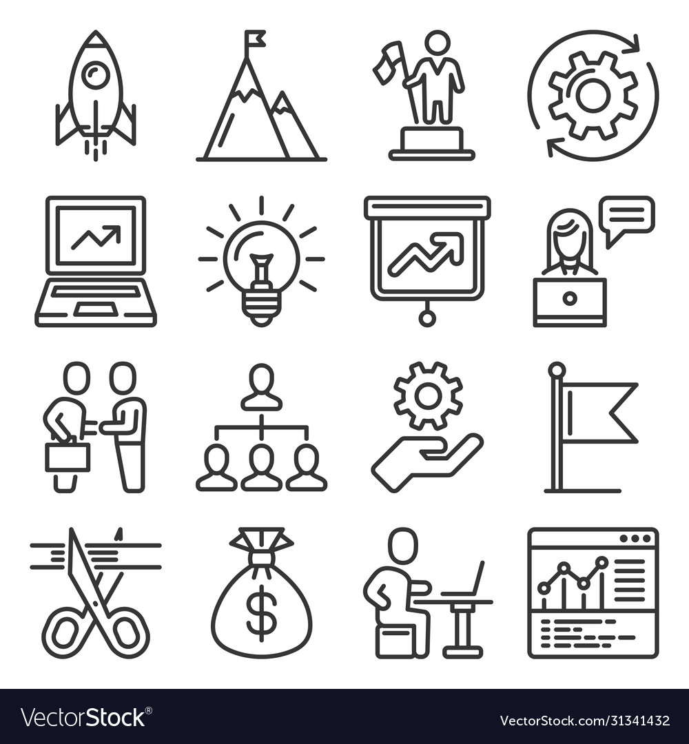 Startup and business solution icons set line
