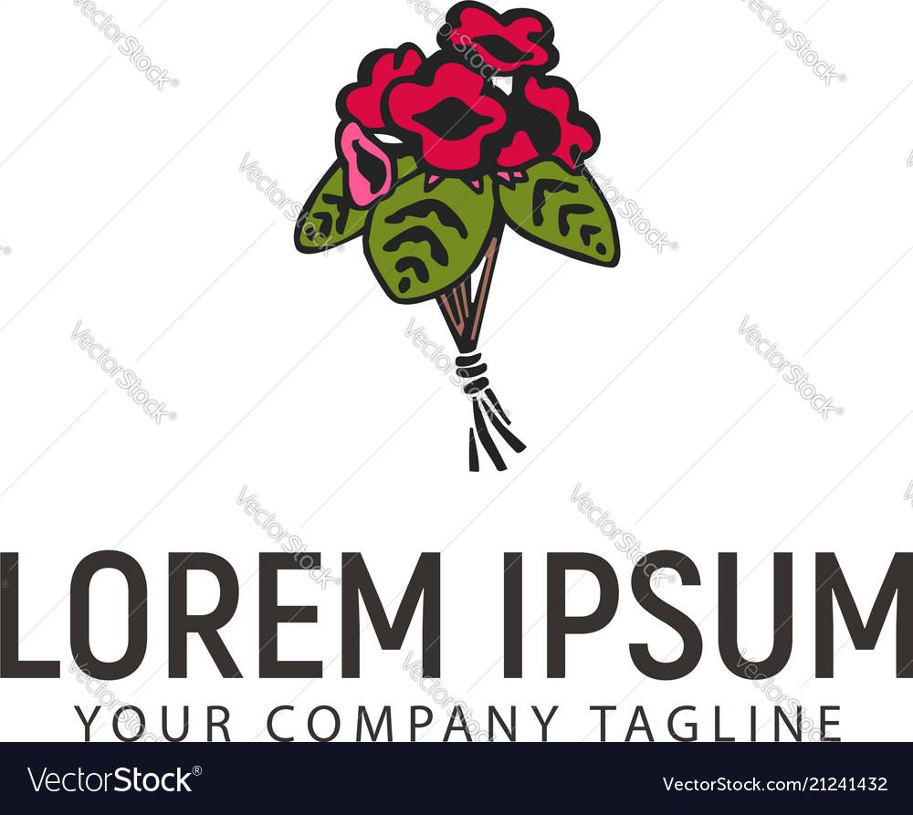 Wedding flower arrangements logo hand drawn
