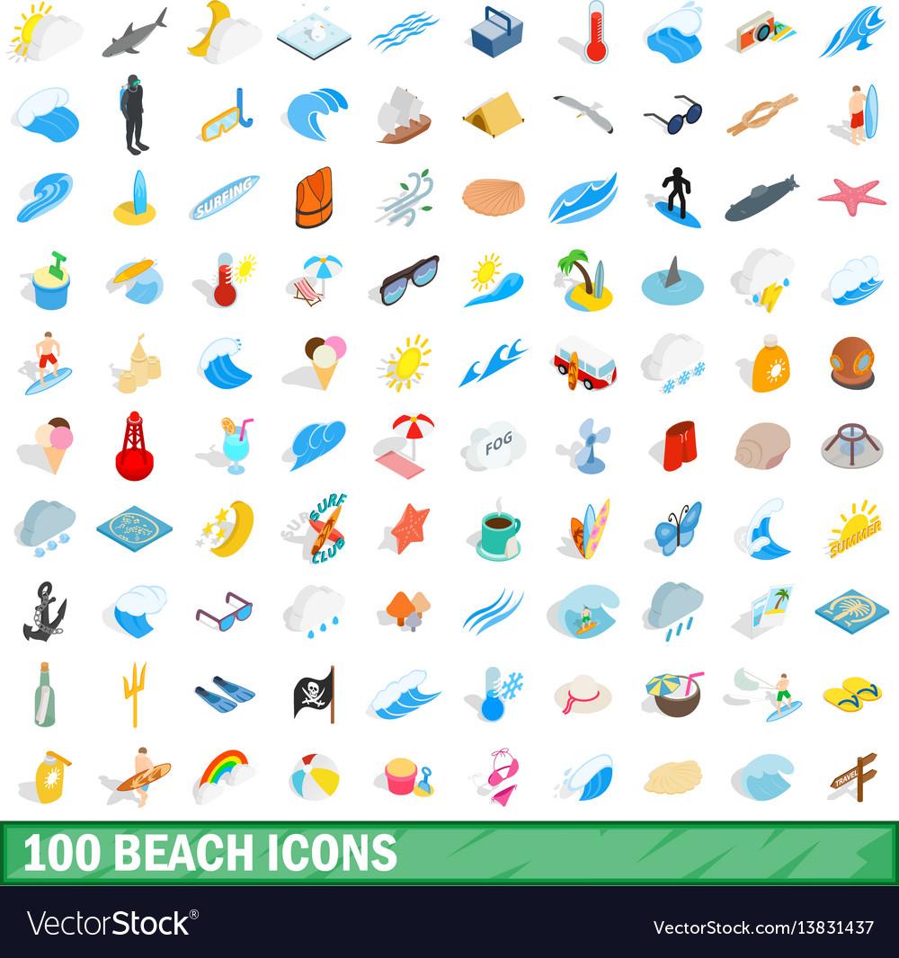 100 beach icons set isometric 3d style