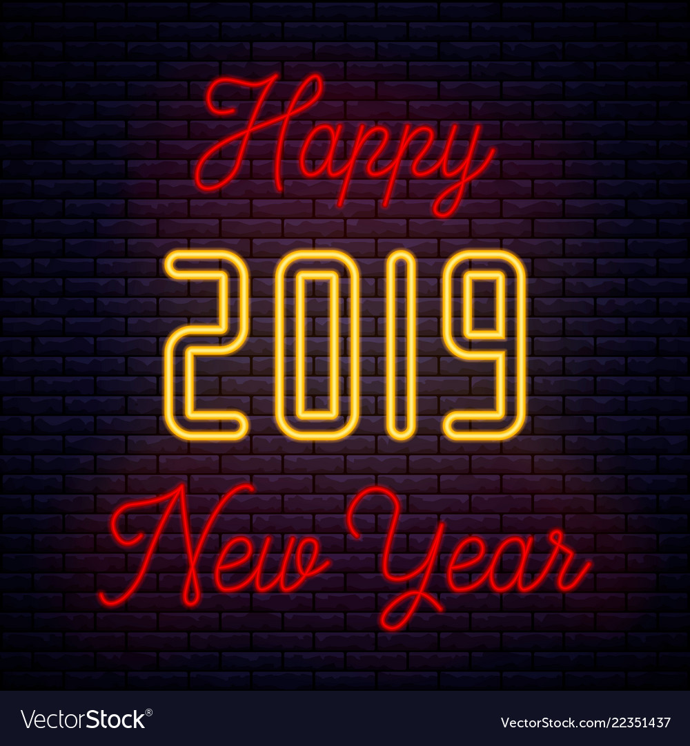 2019 happy new year neon