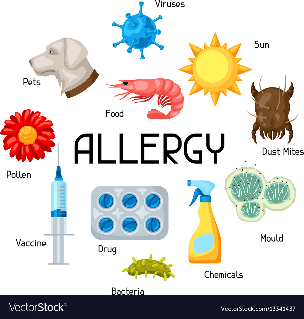 Allergy background with allergens and symbols