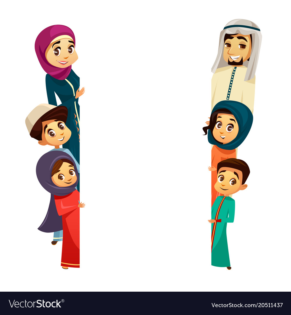 Arab family characters poster template