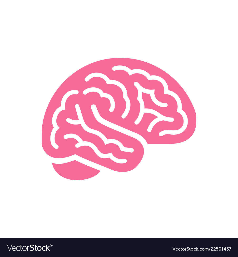 Brain pink color side view icon intellect symbol