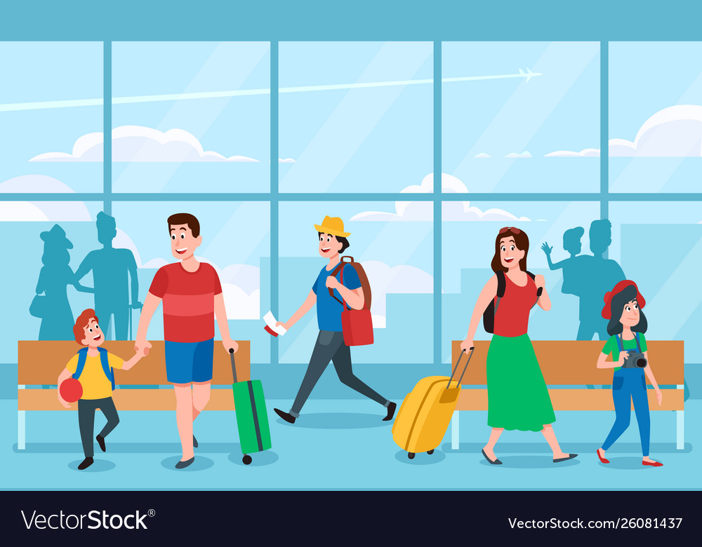 Busy airport terminal business travelers family