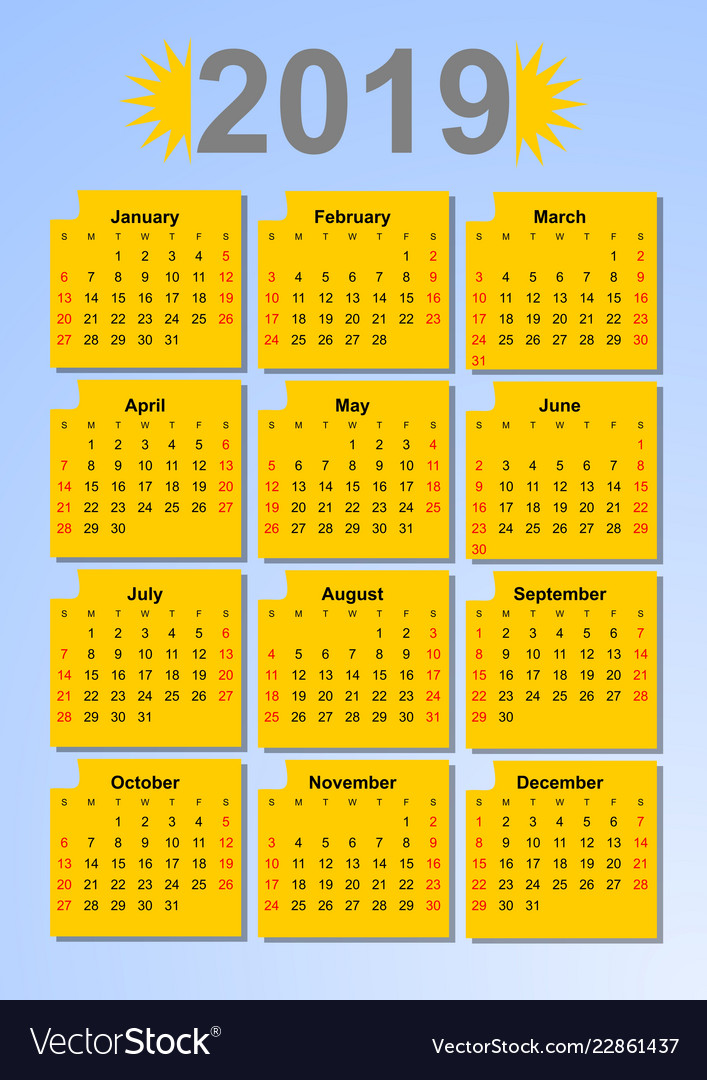 Calendar 2019 in sun colors months in yellow