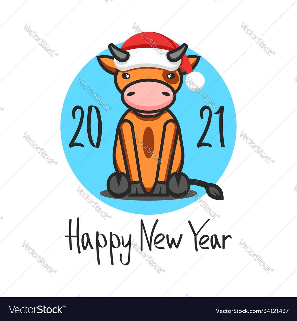 Cny logo ox in santa claus hat 2021