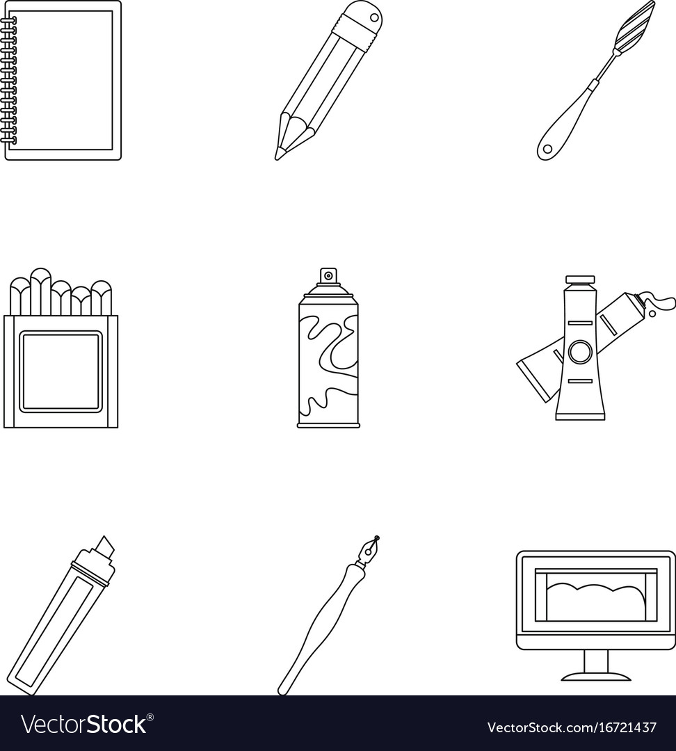 Designer workspace icons set outline style