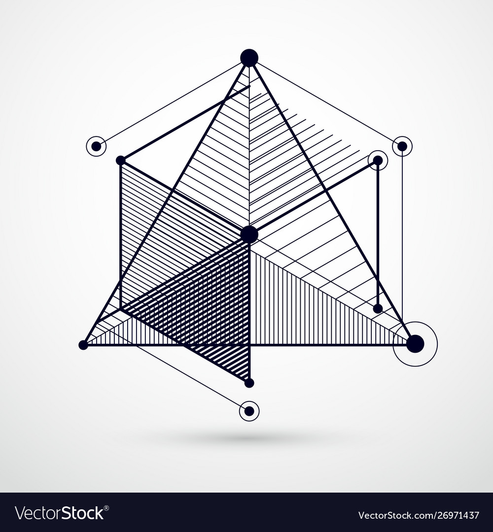 Geometric technology black and white drawing 3d