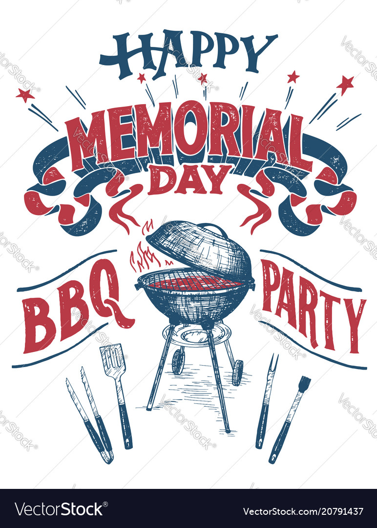 Happy memorial day barbecue party sign