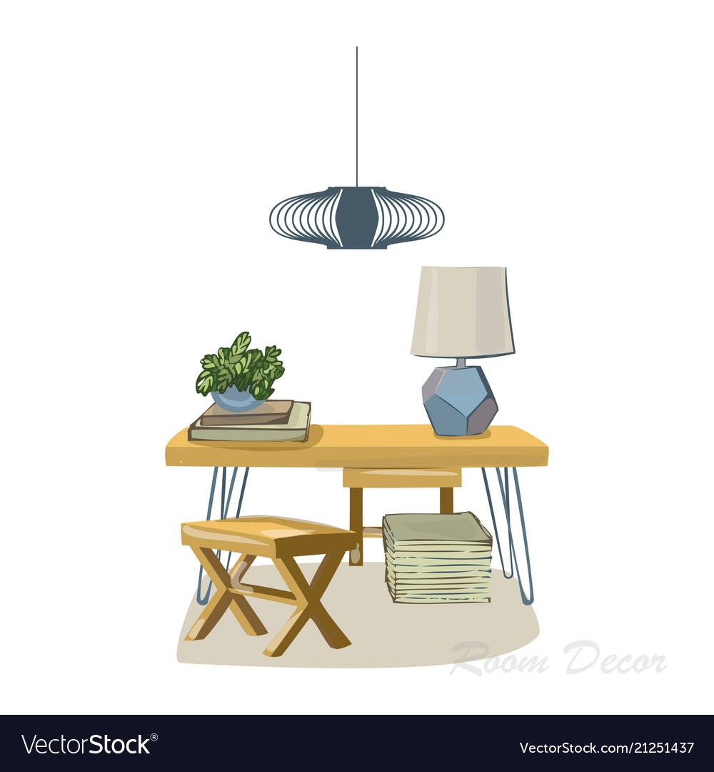 Interior Design Sketch Flat Modern Elements