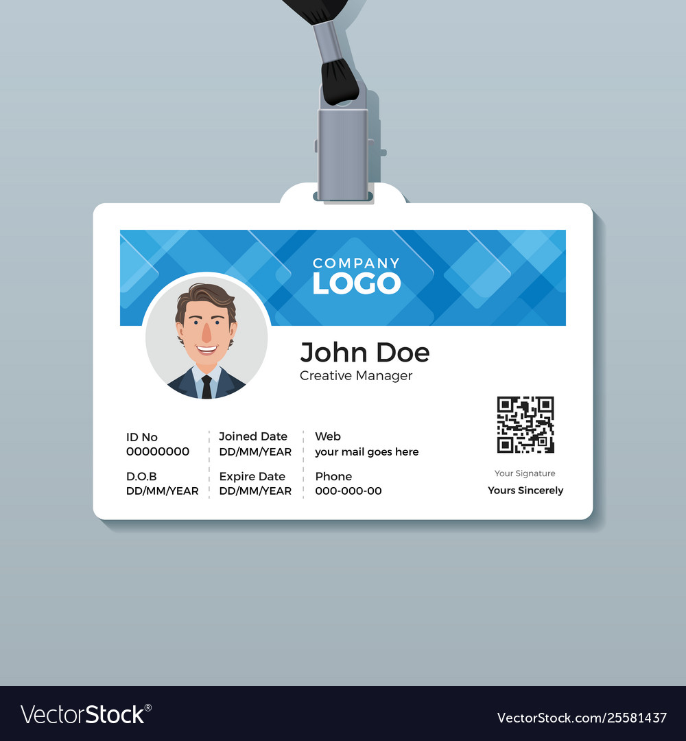 office id card template with abstract blue vector image