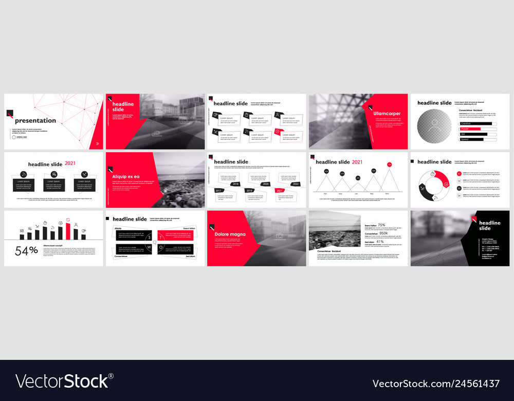 Presentation template slides with charts