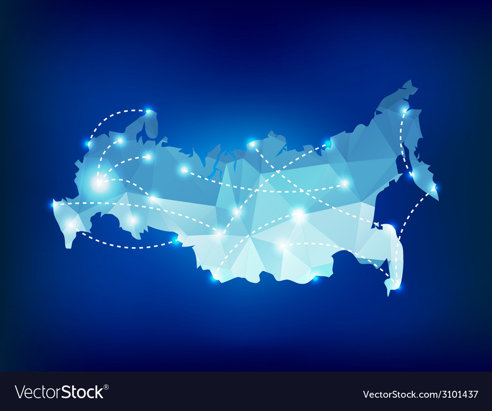 Russia country map polygonal with spot lights plac