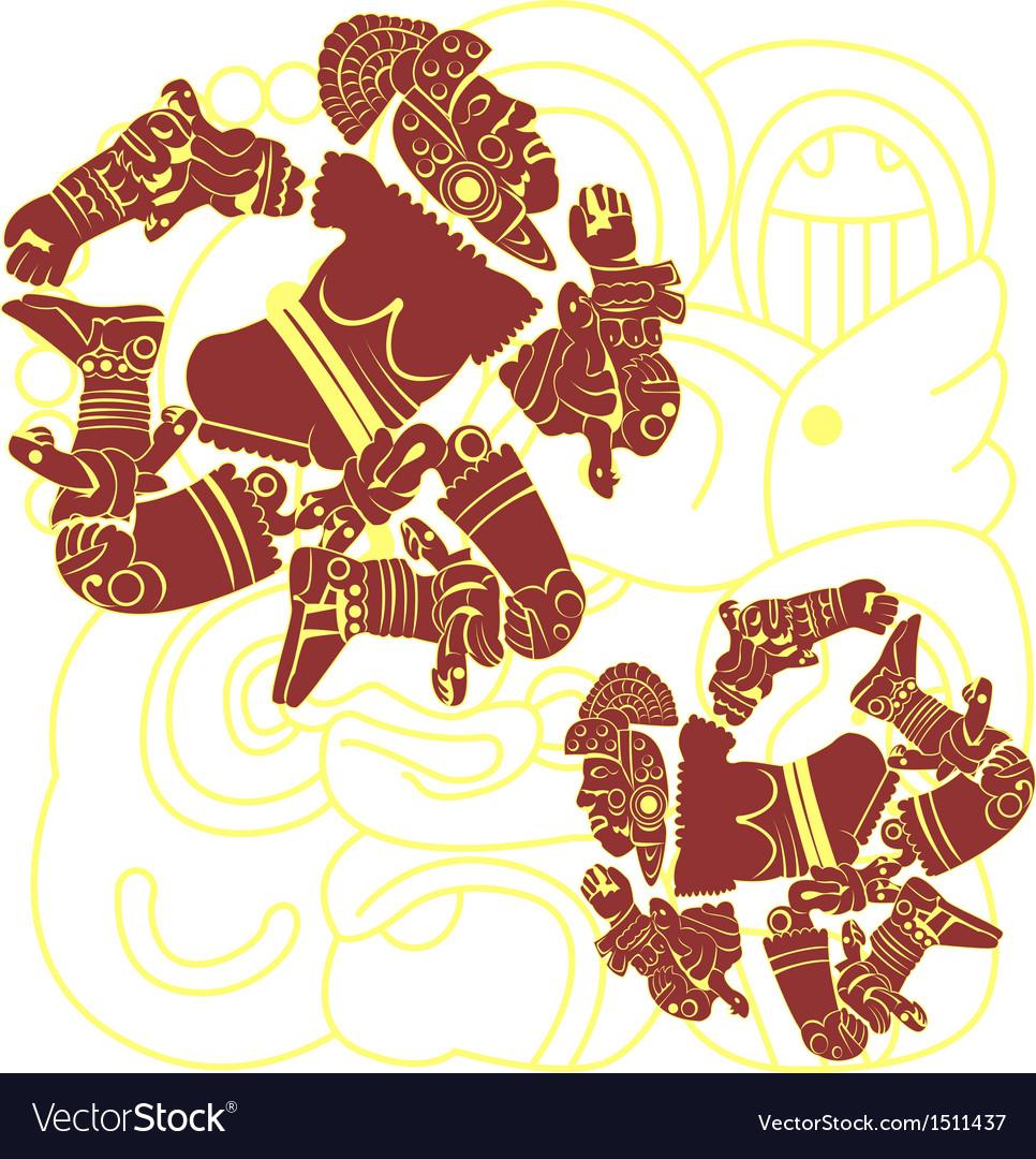 Set of mayan warriors vector image