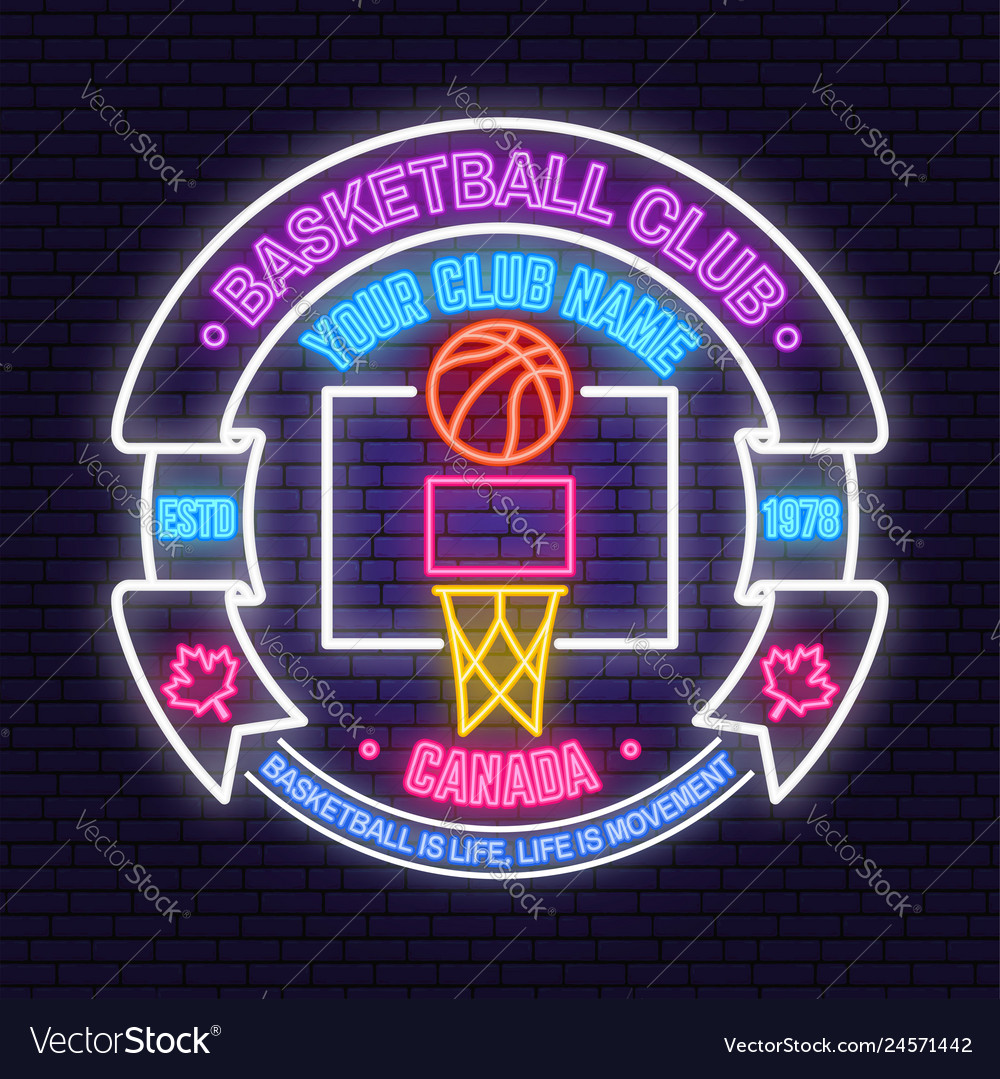 Basketball club neon design or emblem