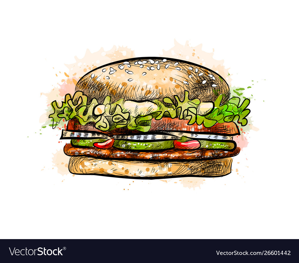 Burger from a splash watercolor hand drawn