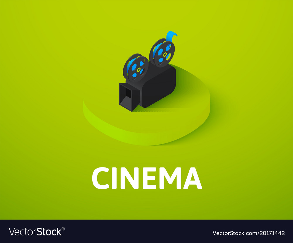 Cinema isometric icon isolated on color