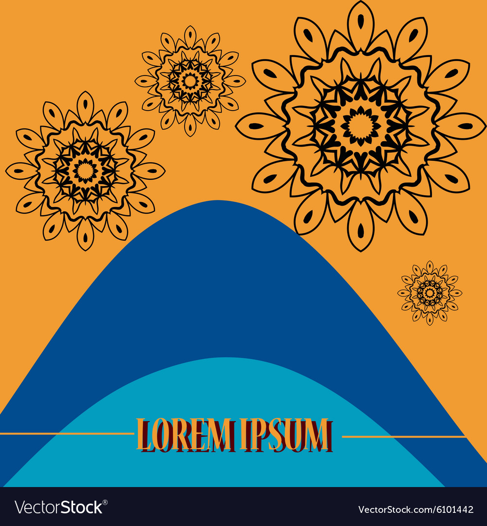 Cover with bended color lines and stylized mandala vector image