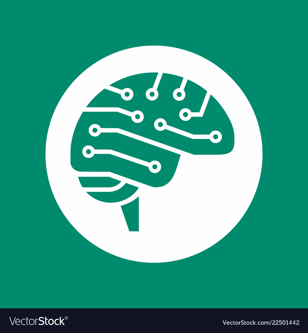Cyber brain side view icon ai symbol electrical