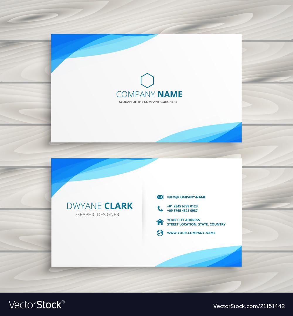 Elegant Blue White Business Card Design
