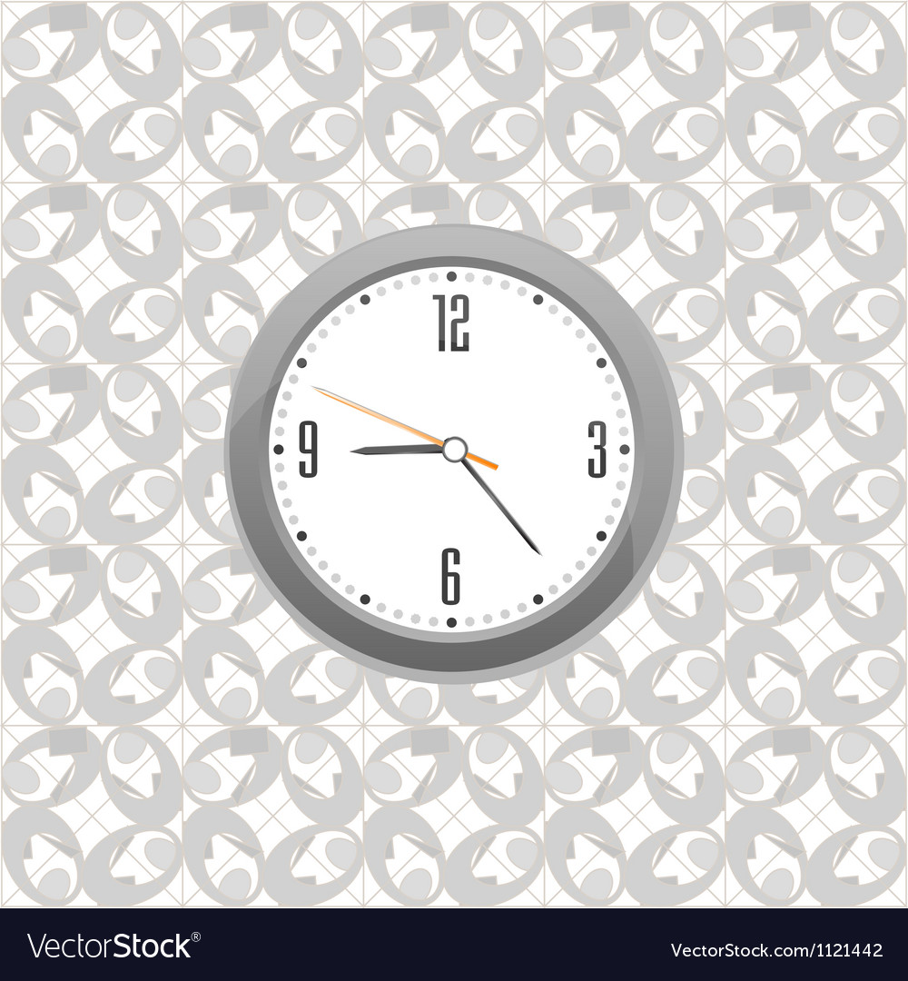 Grey clock on wall pattern style background