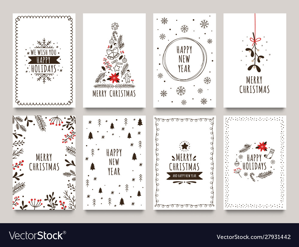 Hand drawn winter holidays cards merry christmas