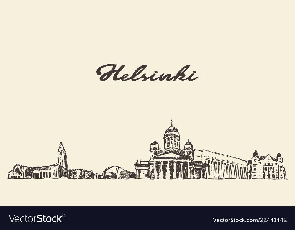Helsinki skyline finland city drawn sketch
