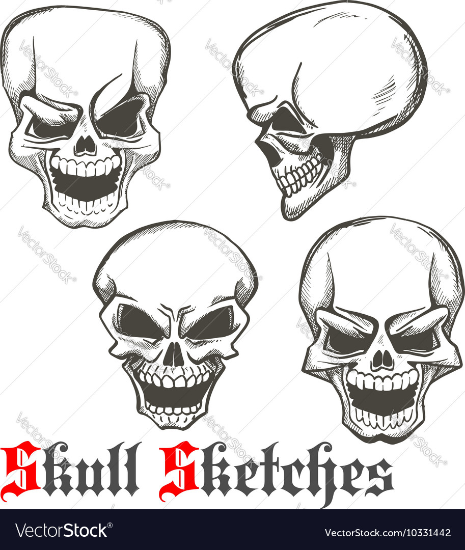 Laughing skulls sketches for tattoo design Vector Image