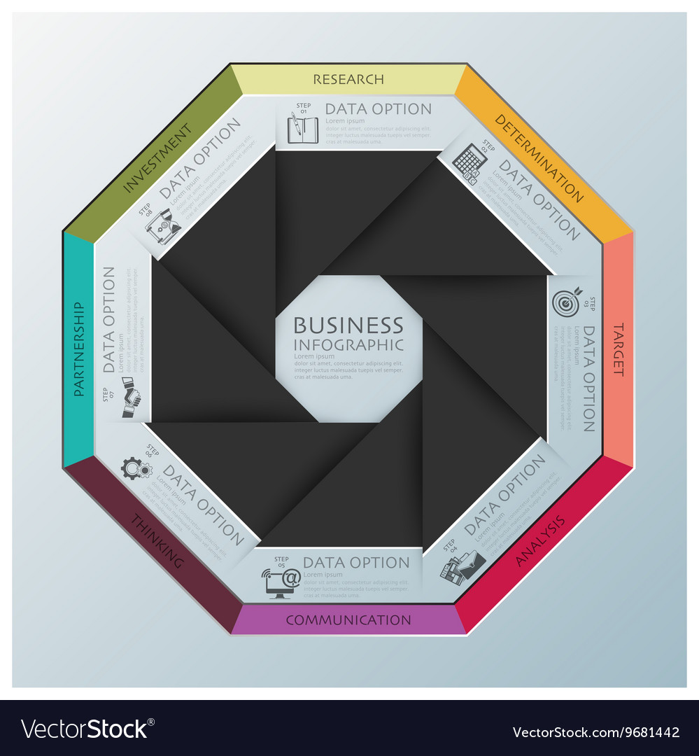Modern Business Infographic Octagon Propeller vector image