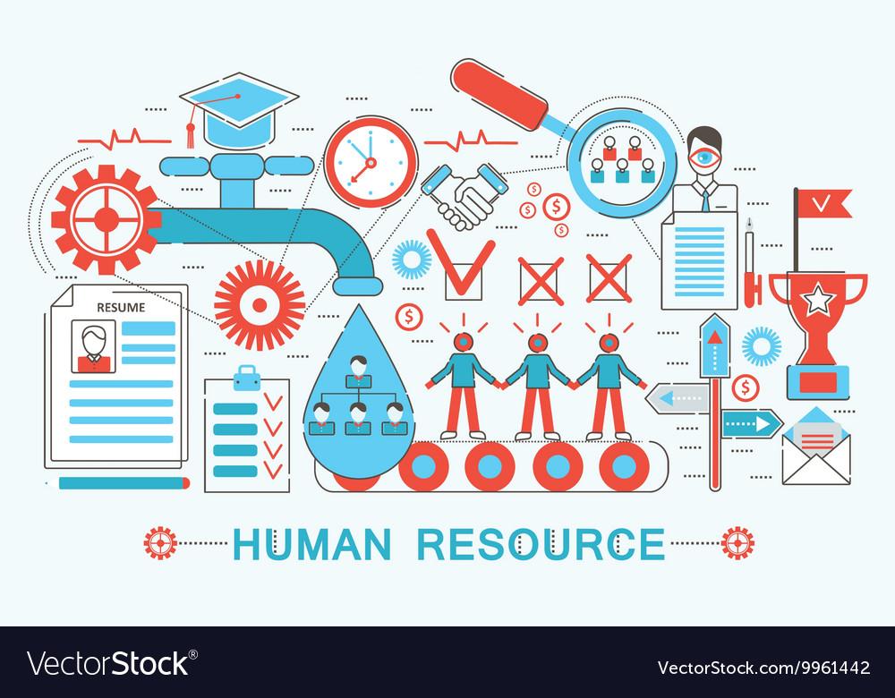 Modern Flat thin Line design Human resource