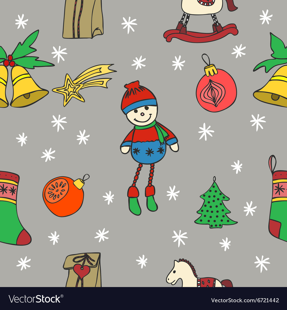 New Year and Merry Christmas seamless pattern