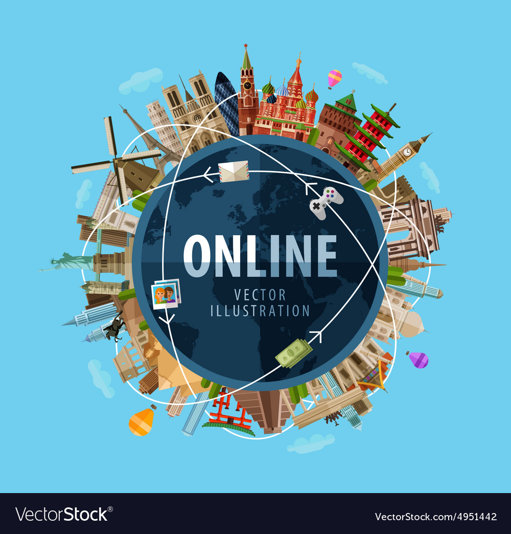 Online Logo Design Template Internet Or Royalty Free Vector