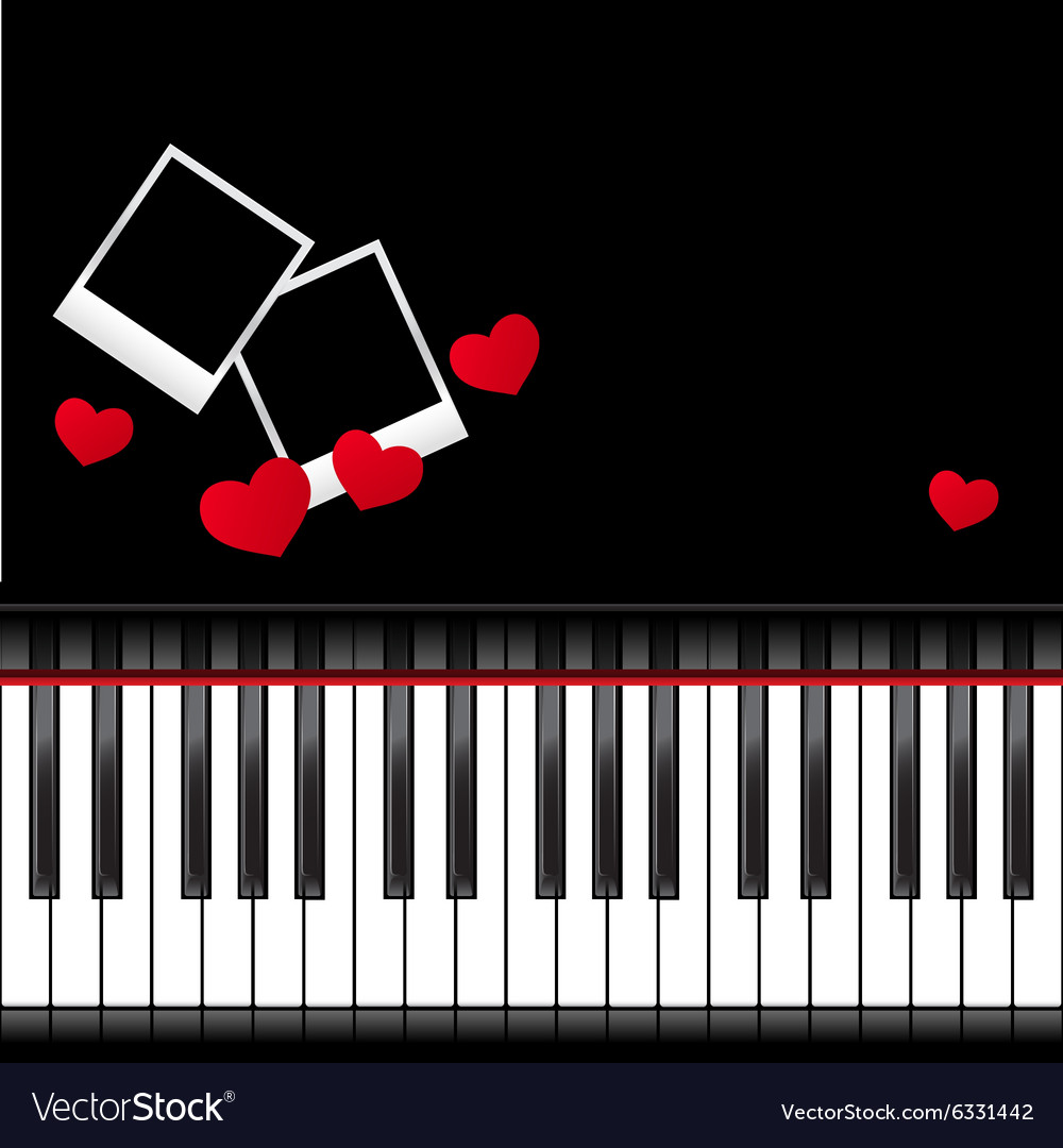 Piano template with hearts Royalty Free Vector Image