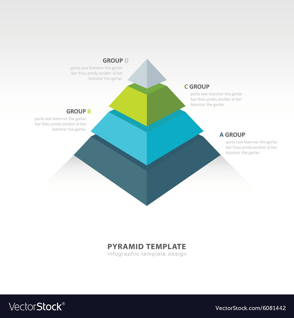 pyramid infographic template 4 color royalty free vector