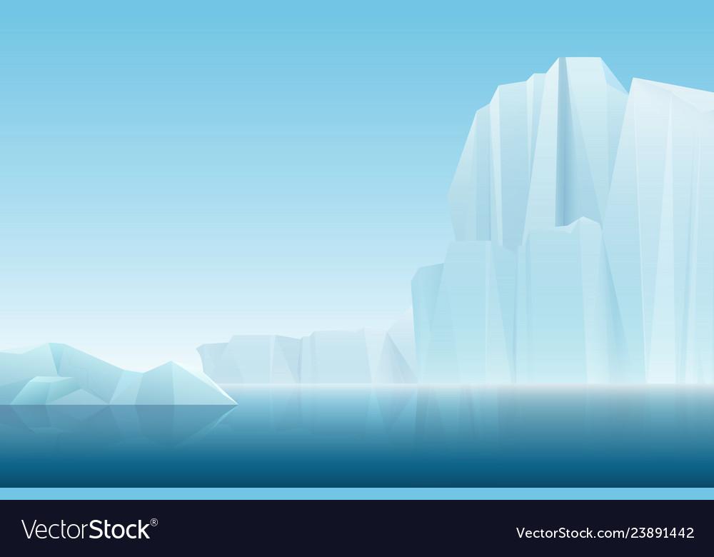 Realistic soft fog arctic iceberg ice mountains