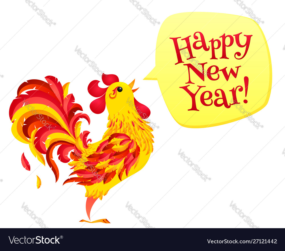 Red fiery rooster with speech bubble and happy new