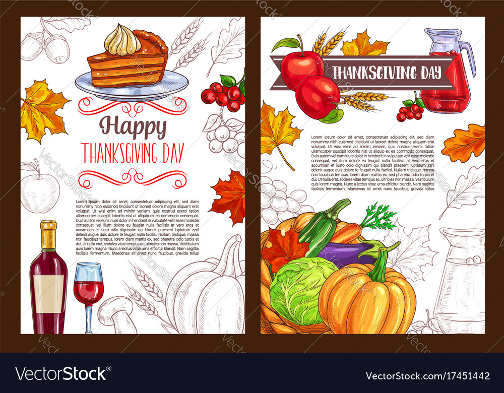 Thanksgiving day sketch holiday poster