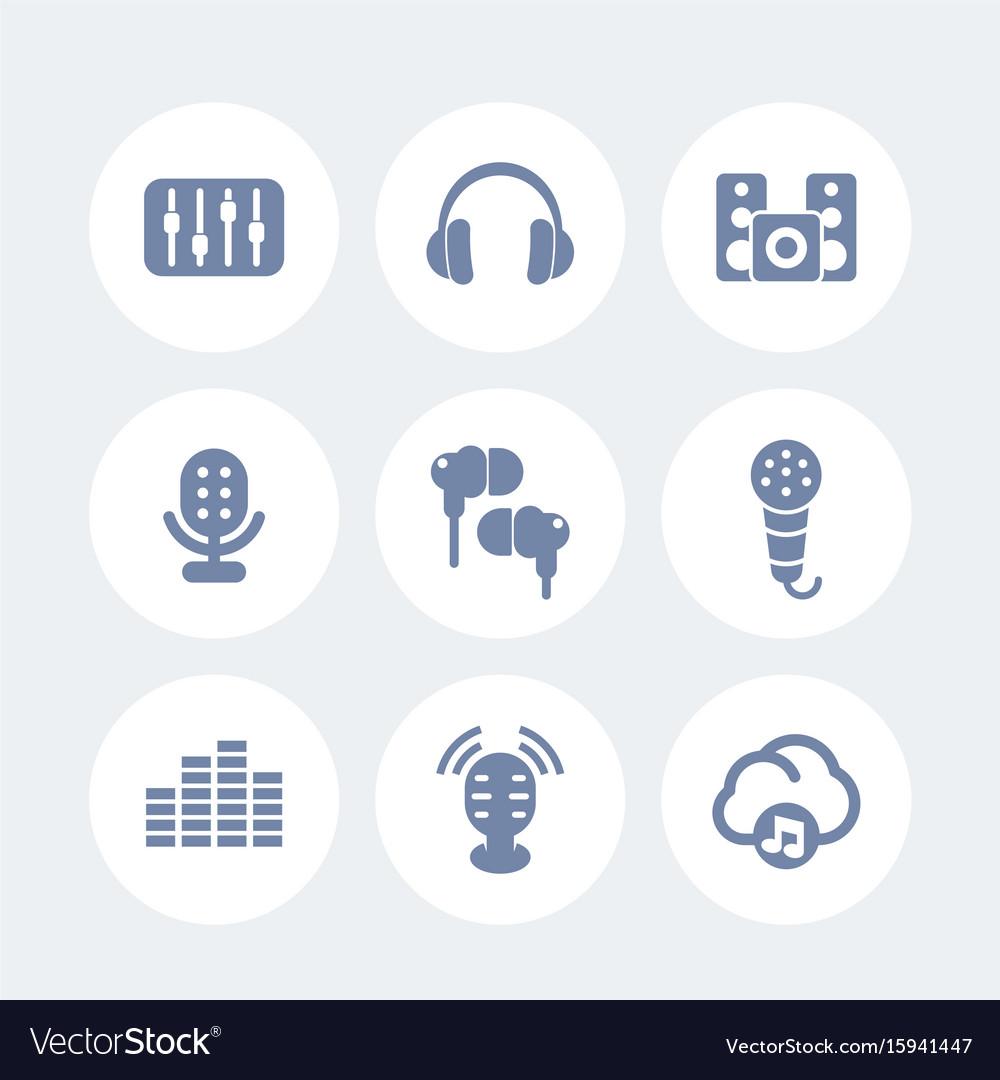 Audio icons set earbuds microphones speakers