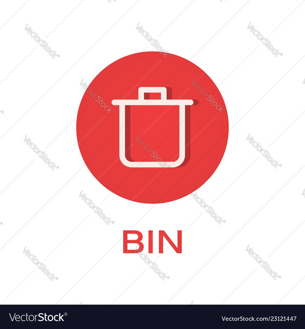 Bin round flat icon remove and trash symbol