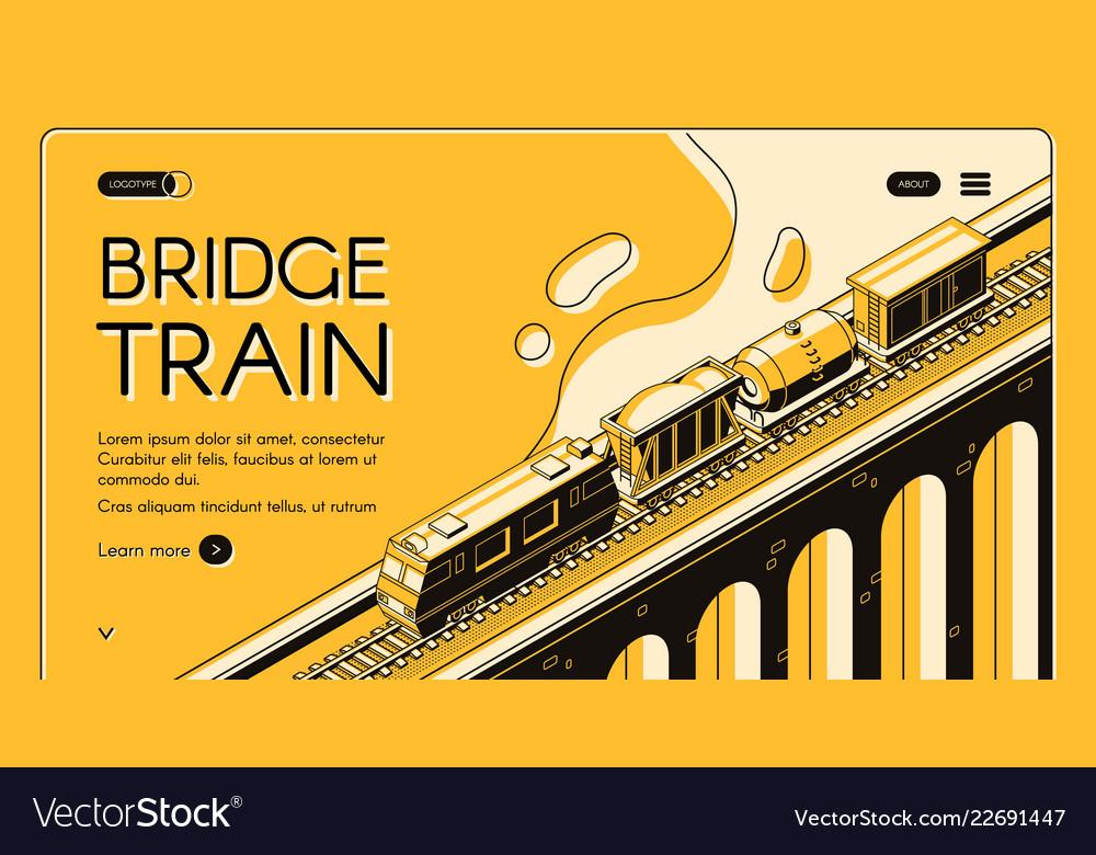 Bridge train isometric web page template